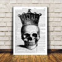 Crowned skull poster Macabre art Anatomy print Gothic decor RTA68