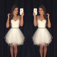 White Homecoming Dress, Short Tulle Homecoming Dress