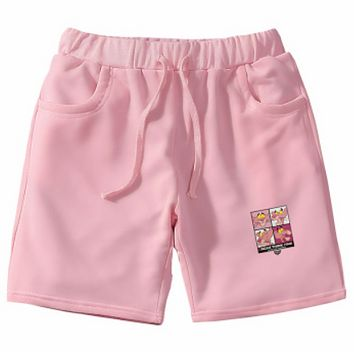 Pink Panther street fashion men and women cartoon trendy five pants F0702-1 Pink