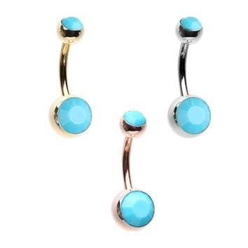 Rose Gold, Gold, Silver Turquoise Double Ball Inlay Belly Button Ring
