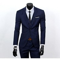 Men's Navy One Button Slim Fit Suit - Three Piece