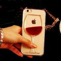 Wine Glass With Moving Liquid Phone Case For iPhone 7 7Plus 6 6s Plus 5 5s SE