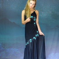 Vintage embroidered black chiffon maxi party gown / tango salsa goddess fishtail prom dress / mesh with turquoise and silver embellishment