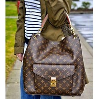 LV Louis Vuitton Women's printed large bag Monogram Coffee