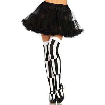 Charming Encounter Black White Stripe Optical Illusion Thigh High Stockings Tights Hosiery