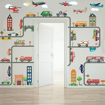 Transportation Town Wall Decals, EMS, Cars, Buses, Trucks, Helicopter, Airplanes & Road