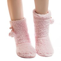 Pink Fuzzy Slipper Socks
