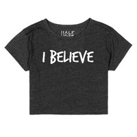 I BELIEVE | White-Female Heather Onyx T-Shirt