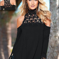 Off Shoulder Lace High Neck T-Shirt