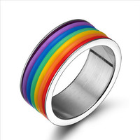 New Hot 2016 Jewelry High Quality Inlaid Stone Stainless steel Ring Rainbow Ring
