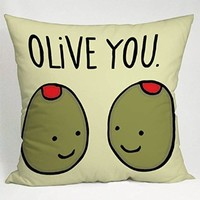 Olive You Love Quote Pillow Case (16x16 one side)