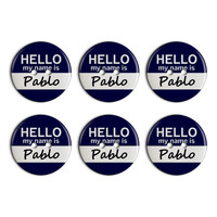 Pablo Hello My Name Is Plastic Resin Button Set of 6