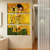 3pcs Wall Painting Gustav Klimt Oil Painting On Canvas Wall Art Prints Picture Living Room Home Decoration Hotel Free Shipping