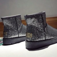 Silver Round Toe Flat Sequin Fashion Ankle Boots