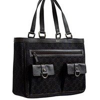 Gucci Women's Dark Brown GG Print Canvas Leather Trimmed Abbey Pocket Tote Bag