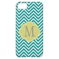 Customize, personalize teal and lime chevron