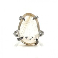 Champagne Diamond and Rutilated Quartz Statement Ring