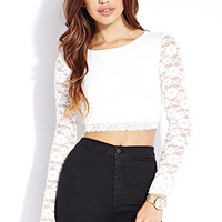 FOREVER 21 Sweet Side Lace Crop Top