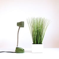 Vintage Green Table Lamp / Home Office Desk / Small Lighting / 1970s