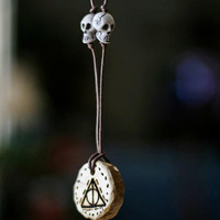 Deathly Hallows wood pendant necklace