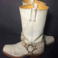 FRYE 77300 White Leather Harness Motorcycle Boots 12r Women's Size 8