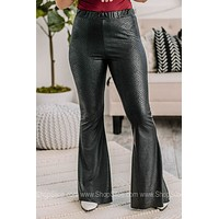 Get Recognized Pull On Flare Pants   Black Snake