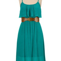 Belted Gauze Ruffle Top Tank Dress