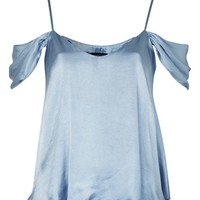 Satin Rouleau Cold Shoulder Camisole Top - Tops - Clothing