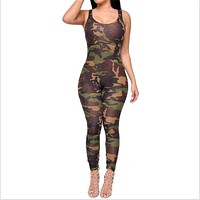Sleeveless Sexy Camouflage Printed Rompers