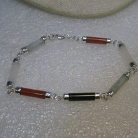 "Sterling Silver Hardstone Barrel Bracelet, 7.5"", 3mm wide, Carnelian, Jade, Onyx, Quartz, Signed LA"
