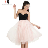 Pink Black Strapless Sleeveless Midi Tulle Tutu Dress Sexy Mesh Patching Contrast Color Block Dresses 2016 Women Clothing