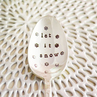 Let it snow coffee spoon- snowflakes spoon- vintage silver plated, hand stamped snow spoon- let it snow- Christmas gift