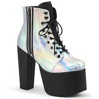 Silver Hologram Vegan Leather Festival And Rave Boot