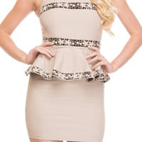 Flower Striped Peplum Dress - Beige