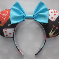 Pre-Sale Design.. Wonderland Inspired Mouse Ears Headband, Custom Ears, Bow Color Option