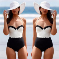 Retro Black And White Vintage One-Piece Swimsuit