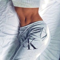 """Calvin klein""Fashion Stretch Leggings Sweatpants Exercise Fitness Sport Pants Trousers"
