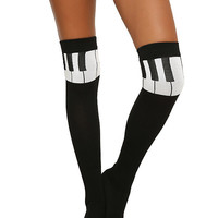 Piano Note Over-The-Knee Socks