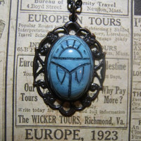 Egypt vintage scarab beetle composite stone cameo necklace pendant on 24 inch black oval link chain