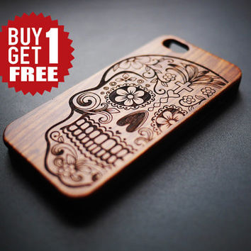 Wood & PVC Material Suger Skull Case for iPhone 5 5s 4 4s - Wood iPhone 4 4s 5 5s Case - iPhone 5 5s 4 4s Case Wood - Wooden iPhone 5 4 Case