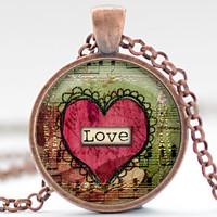 Love Heart Necklace, Valentines Day Pendant, Red Heart Jewelry, Love Charm, Your Choice of Finish (1347)