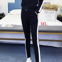 """Adidas"" Women's Leisure Fashion Letter White border Printing Long Sleeve Trousers Two-Piece Sportswear"
