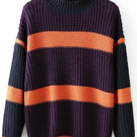 Purple Striped High Neck Knitted Sweater