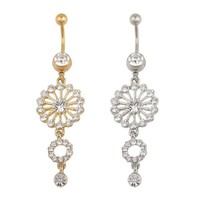 Fashion Beauty Gold Silver Round Crystal Rhinestone Dangle Button Bar Navel Belly Ring Jewelry = 5979040129