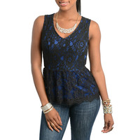 Floral Lace Peplum Top in Blue & Black