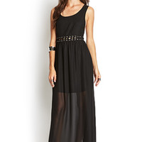 FOREVER 21 Lace-Up Cutout Maxi Dress