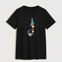 Fashion Men Cartoon Spaceman And Planet Print Casual Tee