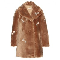 carven - embellished faux fur coat