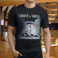 Novelty T Shirts O-Neck Popular Ghost In The Shell Anime Black Men'S Short Sleeve Office Tee For Men
