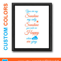 Orange blue you are my sunshine baby decor, my sunshine nursery art, nursery wall art kids quote song sunshine kids art print baby wall art